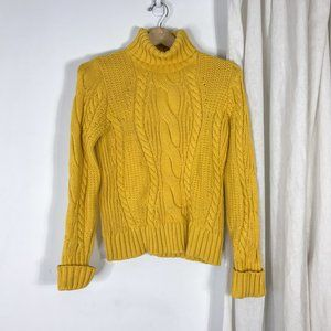 Lands End Mustard Yellow Cable Knit Sweater